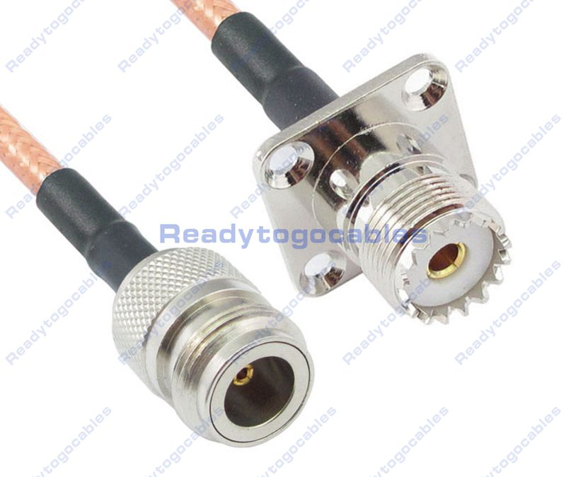 N-TYPE Female To Panel-Mount UHF Female SO239 RG142 Cable