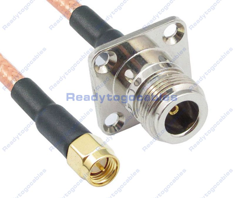 SMA Male To Panel-Mount N-TYPE Female RG142 Cable
