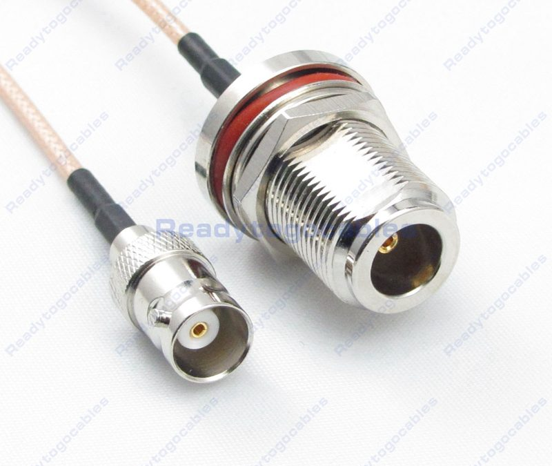 BNC Female To N-TYPE Female Bulkhead Waterproof With Nut Washer RG316 Cable