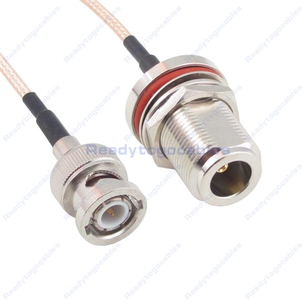 BNC Male To N-TYPE Female Bulkhead Waterproof With Nut Washer RG316 Cable