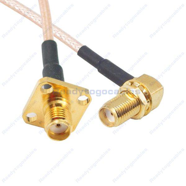 Panel-Mount SMA Female To RA SMA Female RG316 Cable