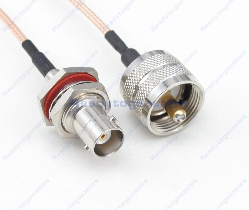 BNC Female Bulkhead Waterproof With Nut Washer To UHF Male PL259 RG316 Cable