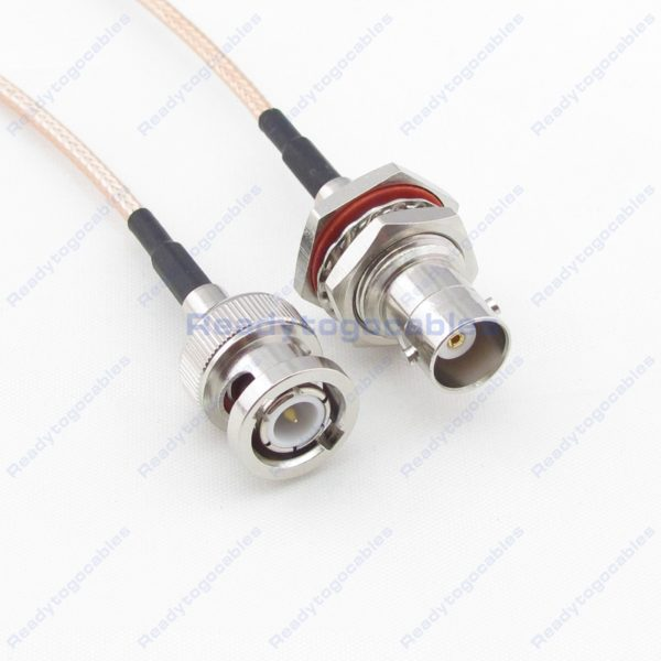BNC Male To BNC Female Bulkhead Waterproof With Nut Washer RG316 Cable