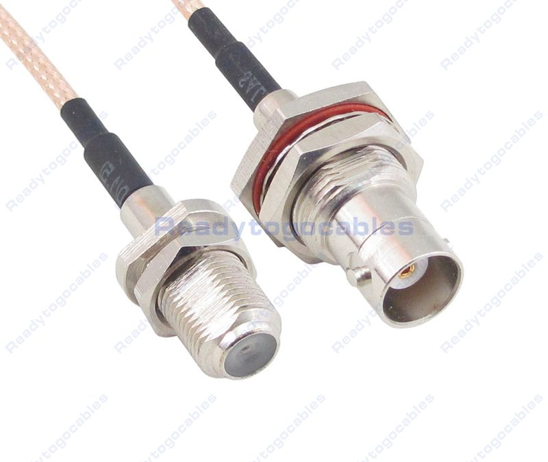 F Female To BNC Female Bulkhead Waterproof With Nut Washer RG316 Cable