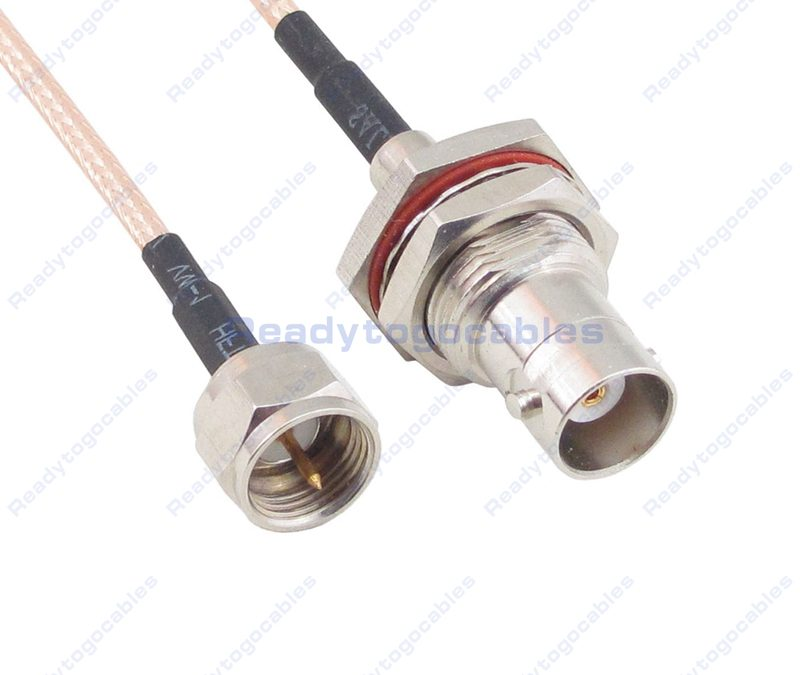 F Male To BNC Female Bulkhead Waterproof With Nut Washer RG316 Cable