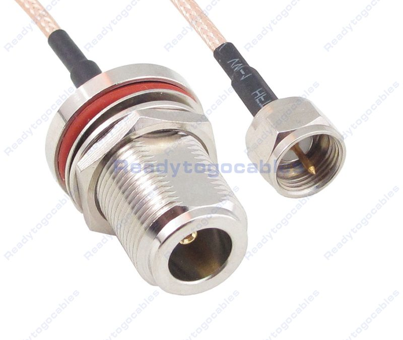 F Male To N-TYPE Female Bulkhead Waterproof With Nut Washer RG316 Cable