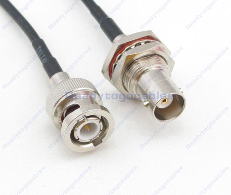 BNC Male To BNC Female Bulkhead Waterproof With Nut Washer RG174 Cable