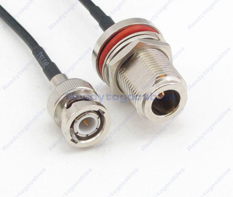 BNC Male To N-TYPE Female Bulkhead Waterproof With Nut Washer RG174 Cable