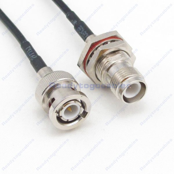 BNC Male To RP TNC Female Bulkhead Waterproof With Nut Washer RG174 Cable