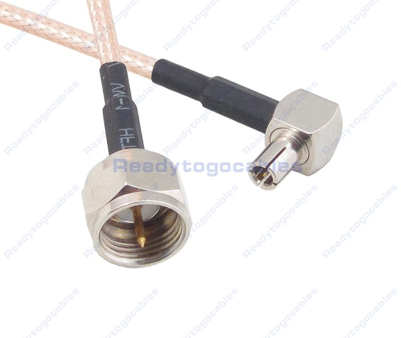 F Male To RA TS9 Male RG316 Cable