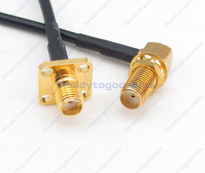 RA SMA Female To Panel-Mount SMA Female RG174 Cable