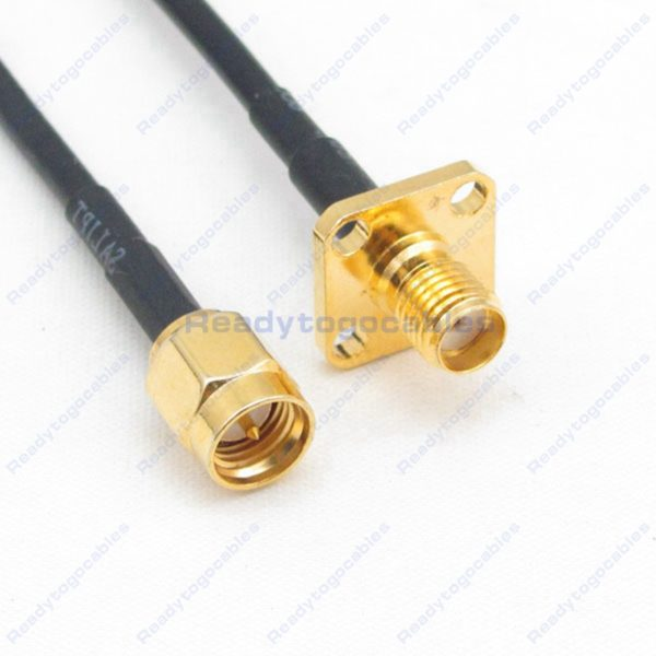 SMA Male To Panel-Mount SMA Female RG174 Cable