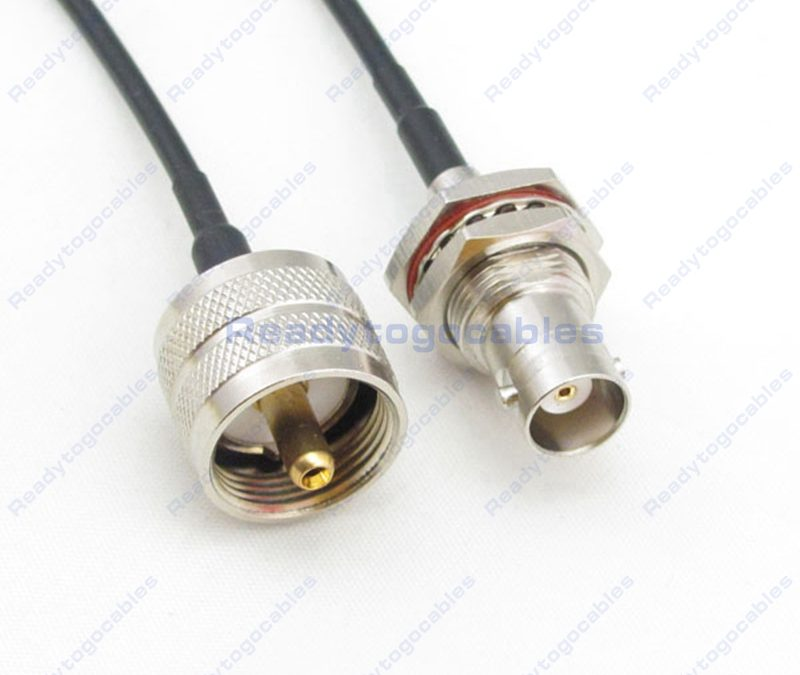 UHF Male PL259 To BNC Female Bulkhead Waterproof With Nut Washer RG174 Cable