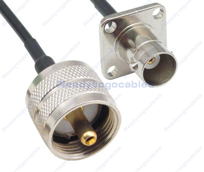 UHF Male PL259 To Panel-Mount BNC Female RG174 Cable